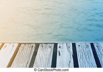 夏天, 甲板, 木制, 葡萄酒, 在上方, 海, 時間