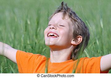 夏天, 眼睛, 伸出, 太陽, 武器, 關閉, 孩子, 微笑, 享用, 愉快