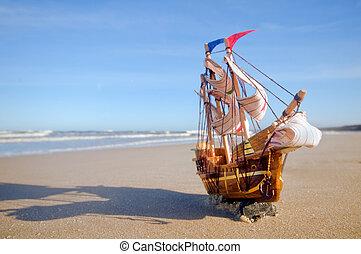 夏天, 船, 海灘, 陽光普照, 模型
