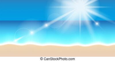 夏天, 陽光, 明亮, 背景, 假期, 海灘