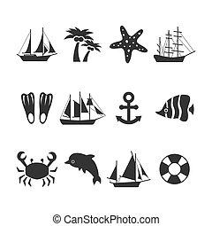 夏天, 集合, 假期, 海, 圖象