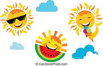 夏天, 集合, 圖象, 太陽, vacation;, 愉快