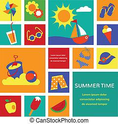 夏天, 集合, 鮮艷, 圖象