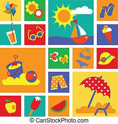 夏天, 集合, 鮮艷, icons., 假期, 愉快