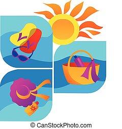 夏天, -2, 海灘, 海, 圖象