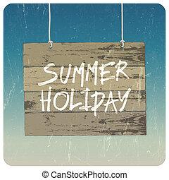 夏天, poster., 矢量, 假期