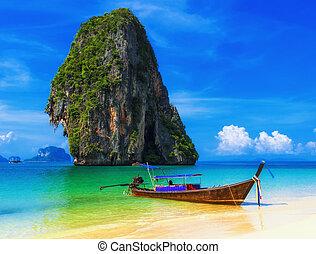 外來, 藍色, 海灘。, 天空, 熱帶, 沙子, 傳統, 泰國, 小船