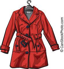 外套, 紅色, 雨