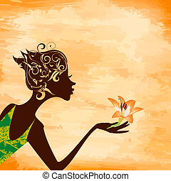 外形, 女孩, 花, grunge, 背景
