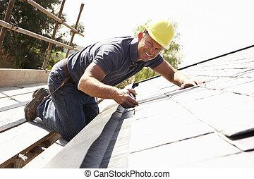 外部, 家, 屋面工, 工作, 新