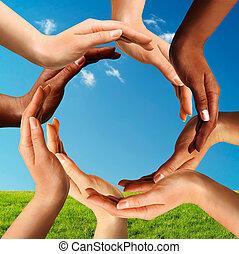 多種族, 做, 環繞, 一起, 手