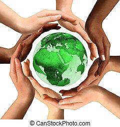 多種族, 地球全球, 大約, 手