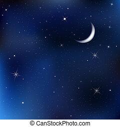 夜晚天空, 星, 月亮