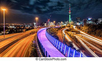 夜晚, 地平線, 城市, 奧克蘭, 新西蘭