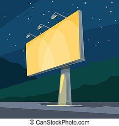 夜晚, 明亮, 黃色, 廣告欄