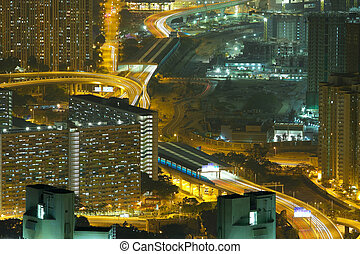 夜晚, 空中, 城市觀點