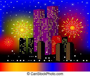 夜晚, 背景, townhouses, 喜慶, 煙火