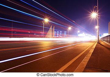 夜晚, 高速公路, 橋梁