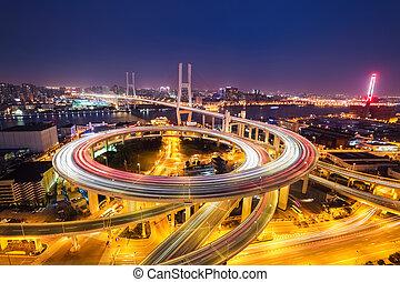 夜晚, nanpu, 橋梁, 上海