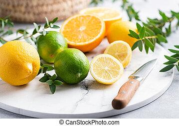 大理石, 板, 水果, 柑橘屬, 切