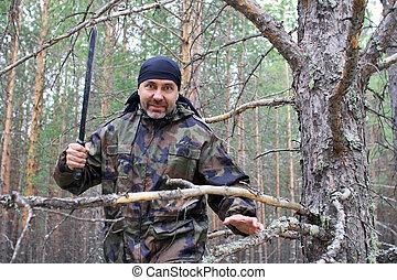 大砍刀, 森林, 人