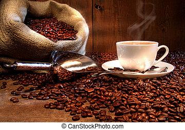 大袋, 豆, 杯子, 烤, 麤帆布, 咖啡