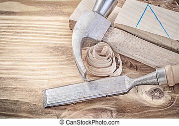 大頭釘, 套間, 木制, 葡萄酒, bo, 鑿子, 刨, 爪, 木頭, 錘子