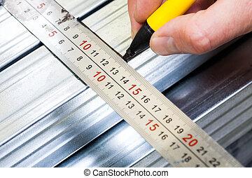 大頭釘, drywall, 注意, 框架, 鋼, 測量