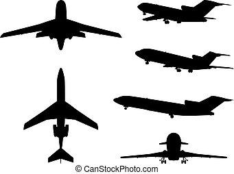 大, 不同, 飛機, 彙整, silhouettes.