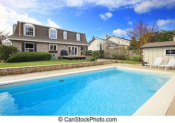 大, 後院, 花圃, 池, 游泳
