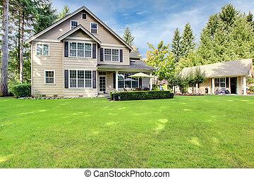 大, 房子, 院子, 背, 原色嗶嘰