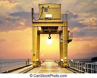 大, 桶架, khonkaen, ubonrat, 傍晚, 水壩, 泰國, 起重機