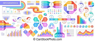 大, 集合, 矢量, infographic, 元素