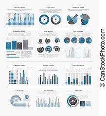 大, infographic, 集合, 元素