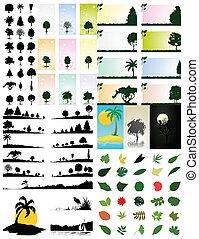 大, nature., 樹, 彙整, 主題, 矢量, 插圖