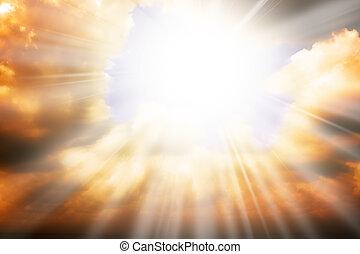 天堂, 太陽, -, 光線, 宗教, 概念, 天空