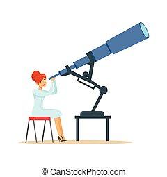 天文學家, 看, 望遠鏡, 婦女, 透過