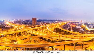 天橋, 橋梁, 夜晚, 相互交換