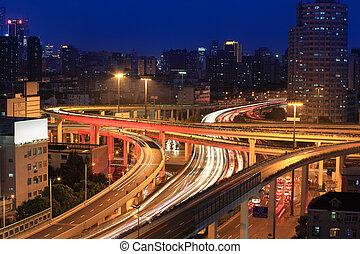天橋, 高速公路, 夜晚