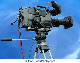 天空, 專業人員, 藍色, 影像, 電視, 在上方, 照像機, 數字, 三腳架, 工作室