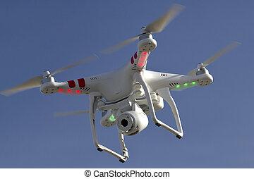 天空, 小, 照像機, unmanned, 直升飛机, 浮動, anta