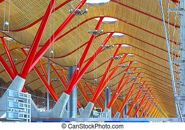 天花板, madrid., 馬德里, 屋頂, 終端, 機場, 細節, spain., 國際, barajas, 結构