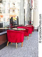 天鵝絨, 美麗, 垂直, 街道, 咖啡館, restaurant., 空, 戶外, 相片, 椅子, 方位, 表, 紅色