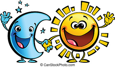 太陽, 月亮, 字符, 嬰孩, 朋友, 卡通, 最好