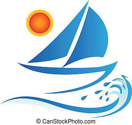 太陽, 波浪, 小船, 標識語