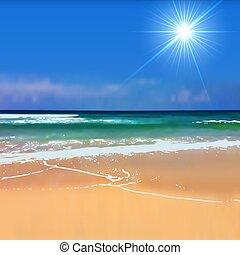 太陽, 被模糊不清, 背景。, 明亮, 夏季, 海灘