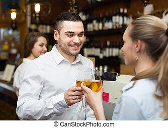 夫婦, 年輕, 酒吧, 酒