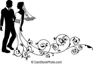夫婦, 新郎, 婚禮, 新娘, 黑色半面畫像