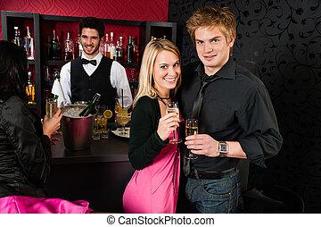 夫婦, 飲料, 酒吧, 香檳酒, 雞尾酒