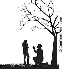 夫婦, 黑色半面畫像